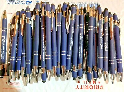 50 Piece Misprint Lot Metal Soft Touch Alpha Stylus Click Pen Blue Pen Black Ink
