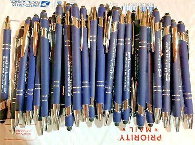 50 Piece Misprint Lot Metal Soft Touch Alpha Stylus Click Pen Blue Pen Blue Ink