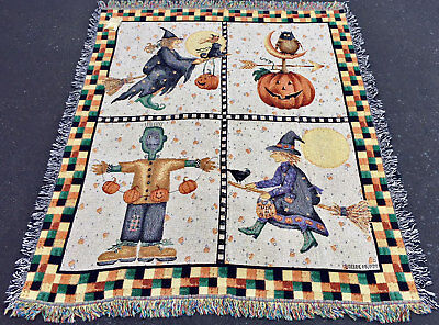 Frankie & Friends Halloween Collage Pumpkin & Witches Tapestry Afghan Throw