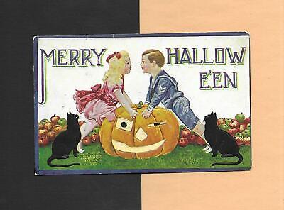 CHILDREN, JACK 'O-LANTERN, BLACK CATS Vintage Unused 1908 HALLOWEEN Postcard