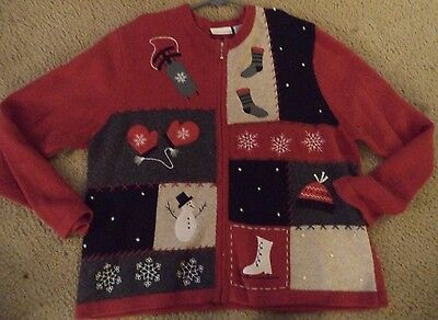 Womens UGLY CHRISTMAS SWEATER Prize Winner Cardigan XL Stocking Mittens SNOW - Ugly Sweater Prizes