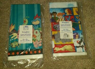 Lot of 2 NEW POKEMON VINTAGE PLASTIC TABLE COVERS - Birthday Party  54 x 96