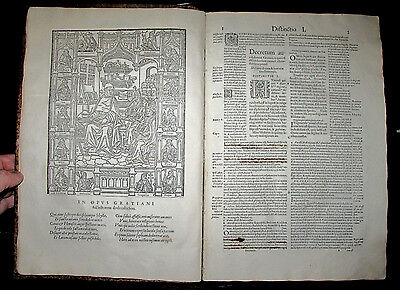 1561 Ancient CANON LAW Folio POST INCUNABLE Latin CHURCH Legal GRATIAN Catholic