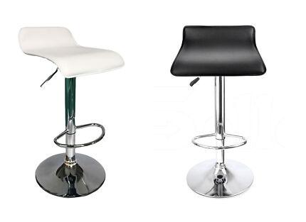 PVC Leather Gas Lift Bar Stool Kitchen Chair-Black/White