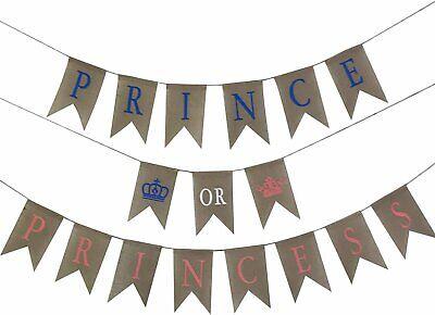 Burlap Baby Shower Banner (JennyGems Prince or Princess Gender Reveal Banner - Baby Shower Burlap)