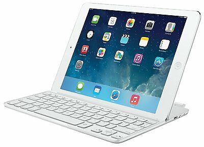 Logitech Magnetic Ultrathin Bluetooth Keyboard Cover Case iPad Air Silver White