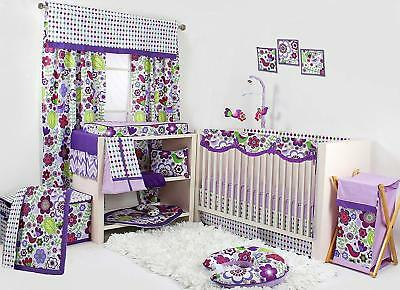Bacati Botanical Girls 10-Piece Nursery-In-A-Bag Crib Bedding Set with Long Rail
