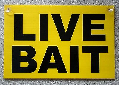 Live Bait Coroplast Window Sign With Suction Cups 12x18