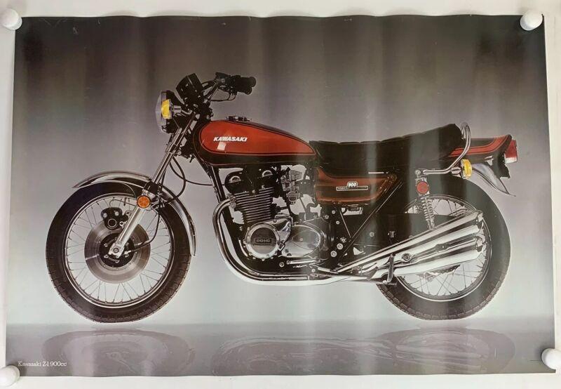 Original 70s Kawasaki Motorcycle Dealer Showroom Poster 900 Z1 32x22.5