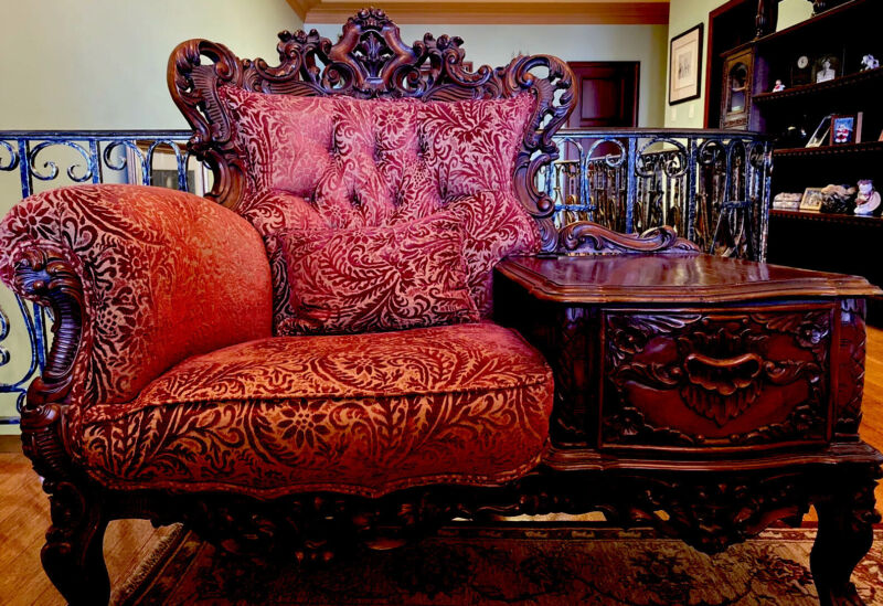 Antique Chair With Matching Ottoman