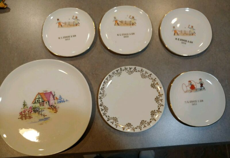6 W C Strause Store Plates, Fleetwood PA Iva-Lure by Crooksville, USA Antique