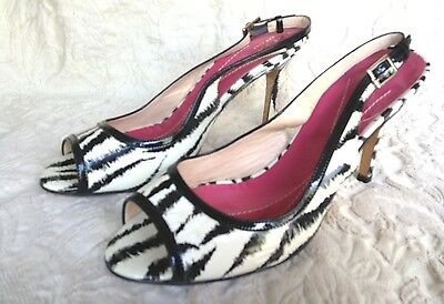 KATE SPADE PATENT LEATHER ANIMAL PRINT OPEN TOE SLING BACK PUMP SZ 8B Patent Open Toe Slingback Pump