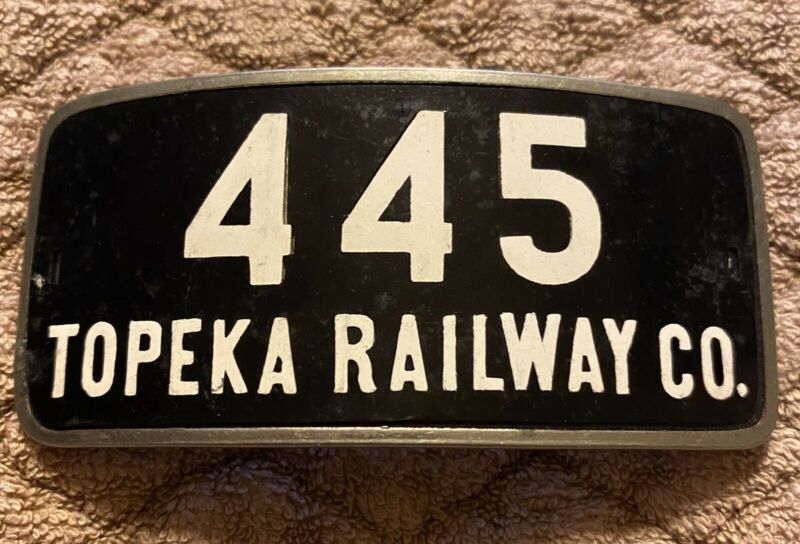TOPEKA RAILWAY CO. 445 HAT BADGE