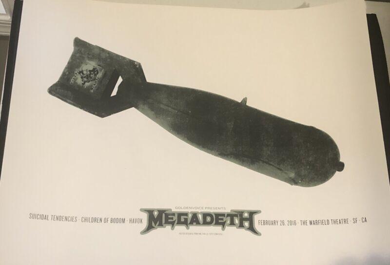 Megadeth Warfield Poster 2/26/16 Lil Tuffy 18x24 Suicidal Tendencies