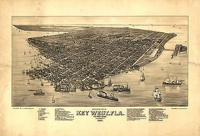 1884 J.J. STONER, BIRD'S EYE VIEW OF KEY WEST, FLORIDA, COPY POSTER MAP