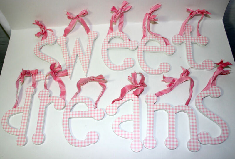"""""""Sweet Dreams"""" Pink Gingham Individual Ribbon Hanging Wall Letters Nursery Decor"""