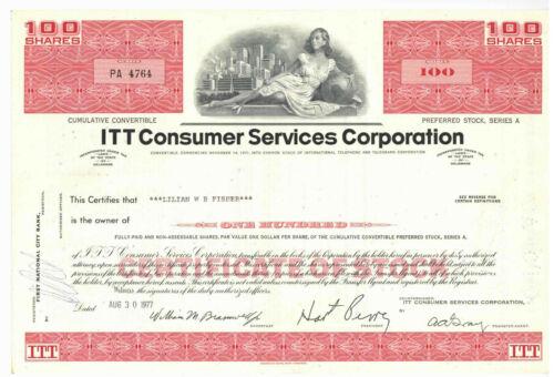 ITT Consumer Services Corporation. Stock Certificate. 1977