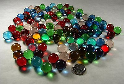 "LARGE LOT  100 MIX OF COLORS clear glass 9/16"" ROUND MARBLE Blue Green Red Teal"