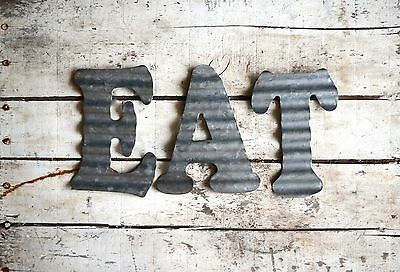 Eat Corrugated Metal Letters Wall Decor Art Vintage Look 3D Free Shipping