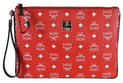 New MCM Red White Canvas Medium Diamond Visetos Zip Top Wristlet Purse Pouch