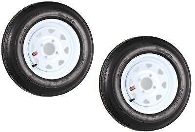 2-Pack Trailer Tires On White Wheel Rims 530-12 5.30-12 5.30 x 12 Load C 4 Lug
