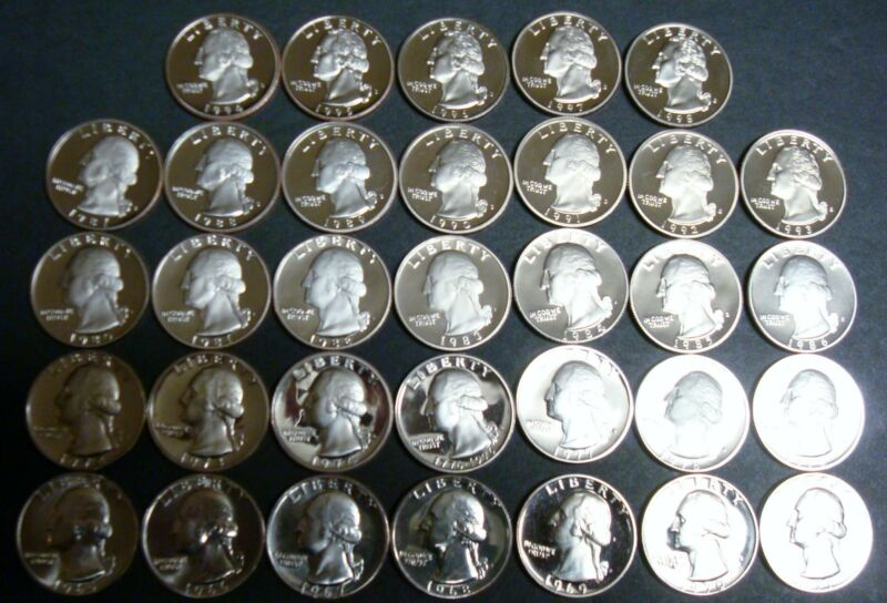 33 DATE LOT SUPER NICE GEMS 1965-SMS TO 1998-S  PROOFS + SMS WASHINGTON QUARTERS