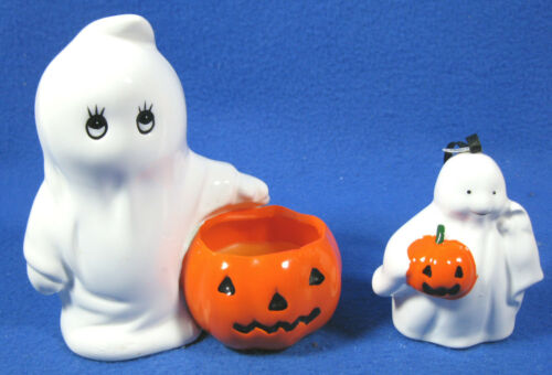 Vintage Halloween Ceramic Russ Berrie Ghost Candle & Midwest Ghost Ornament
