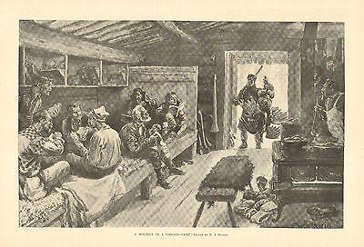 Holiday In A Logging Camp, Turkey Dinner, Recreation, Vintage 1898 Antique Print
