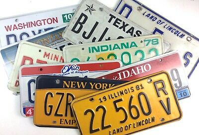 Craft Old License Plates 10-Pack with 8-9 States Mixed Lot Garage Ship Worldwide