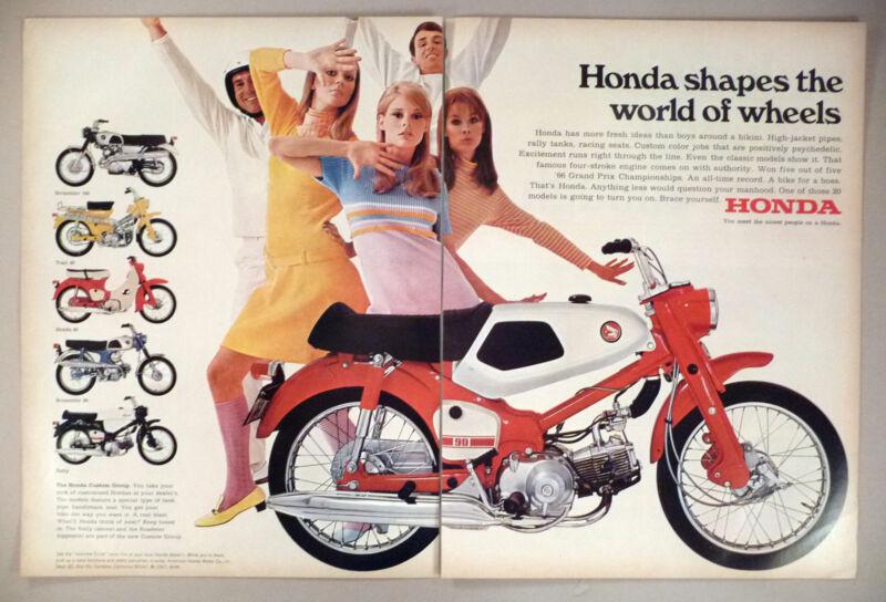 Honda Motorcycle 2-Page PRINT AD - 1967 ~~ five models shown