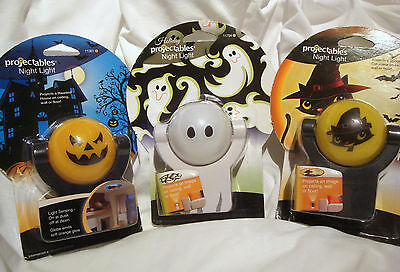 Halloween Cat Night Light (3 HALLOWEEN Projectables Night Light Haunted House Jack O Lantern Cat Ghost)