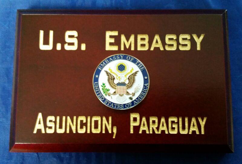 "U.S. Embassy Asuncion, Paraguay Cherry Wood Beveled Edge 4""X6""X.75""  MADE IN USA"