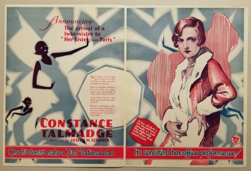 """1926 Silent Movie Ad """"Her Sister from Paris"""" Starring Constance Talmadge"""