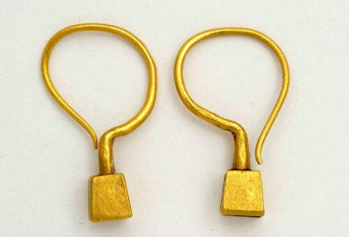 Tribal 24K solid gold handmade earrings, Gujarat North India 1980