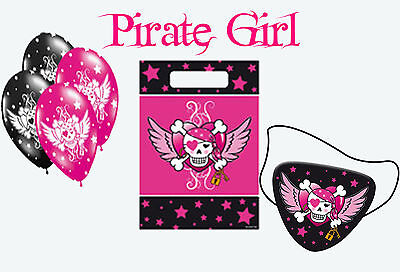 Girl Pirate Accessories (PINK PIRATE GIRL PARTY ACCESSORIES LOOTBAGS BALLOONS BANNERS)
