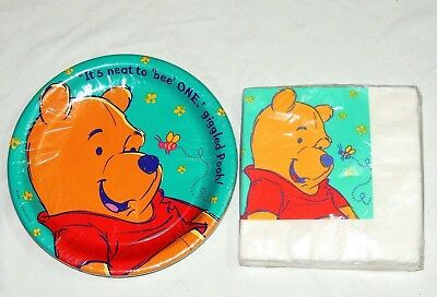 WINNIE THE POOH 1 ST B-DAY   8-  LUNCH  PLATES & 16  LUNCH NAPKINS-   PARTY](Winnie The Pooh 1st Birthday)