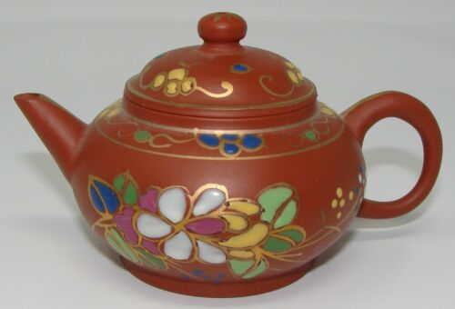 Chinese Clay Small Teapot Enamel Paint Signed Markings