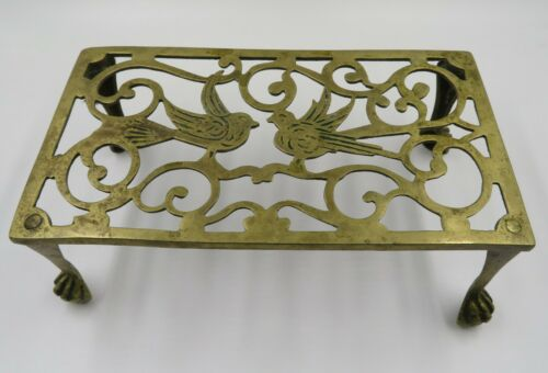 WONDERFUL ANTIQUE C 1865 BRASS KETTLE POT TRIVET WITH DOUBLE BIRD DESIGN