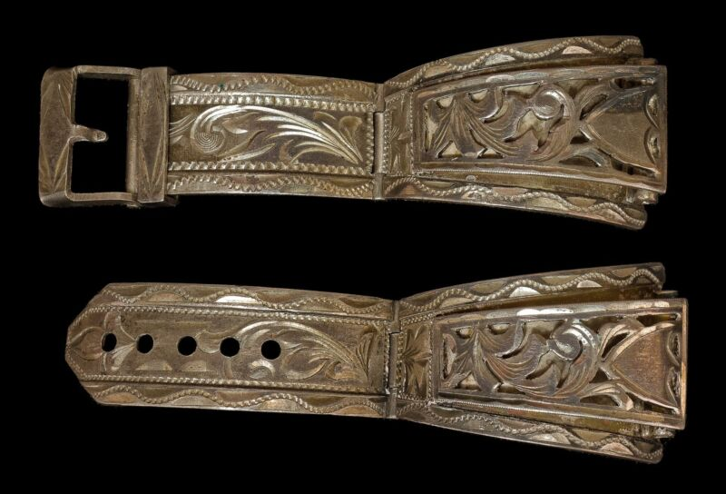RARE Vintage R.S.S. Western Style Sterling Silver Buckle Tooled Watch Band