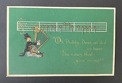 """1917 St Patrick's Day Postcard """"Oh Paddy Dear"""" Boy Top Hat Playing Harp (St Patrick's Day Music)"""