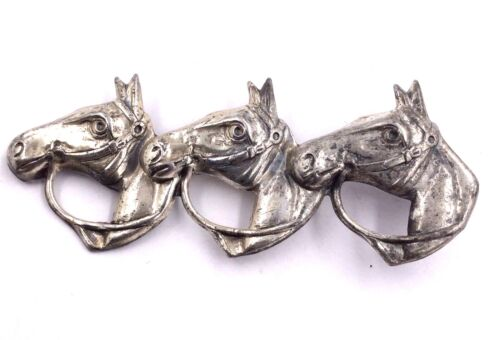 Sterling Silver Horse Pony Trio Pin Brooch 4.4gr