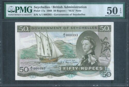 "SEYCHELLES QEII 50 Rupees ""SEX"" note P17a 1968 PMG 50 EPQ Low No. 393"