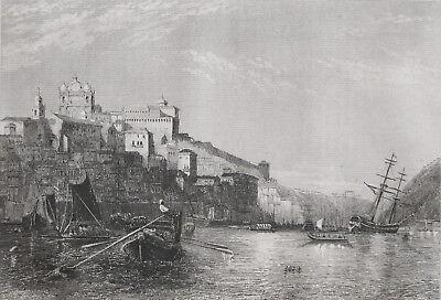 OPORTO SÉ DO PORTO DOURO RIBEIRA PORTUGAL ORIGINAL-STAHLSTICH-ANSICHT VON 1846