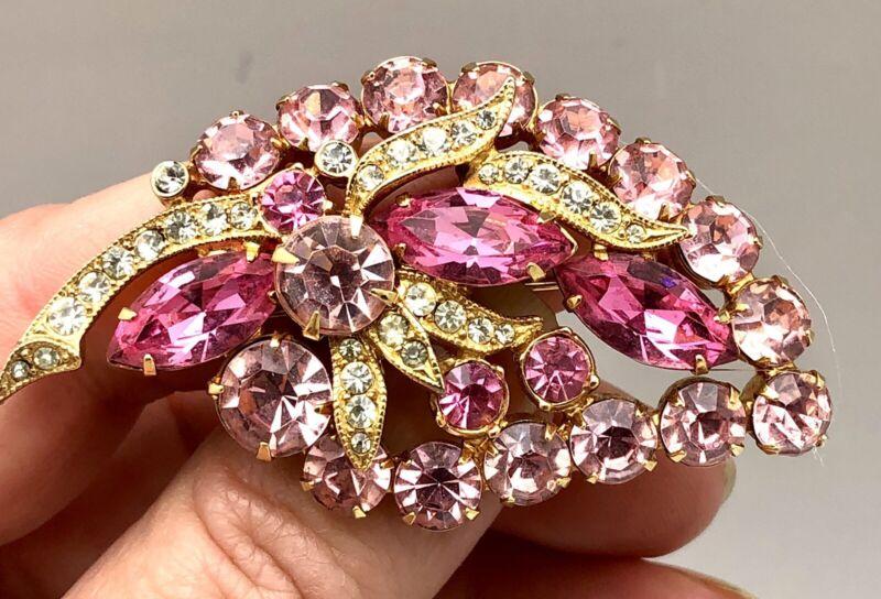 Vintage Eisenberg Ice Pink Topaz Rhinestone Leaf Spray Brooch Pin