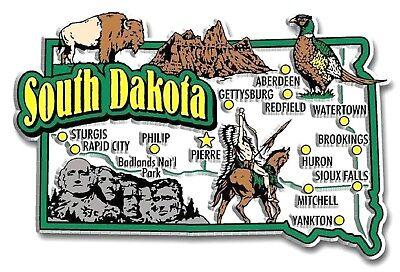 (South Dakota Jumbo State Map Fridge Magnet)