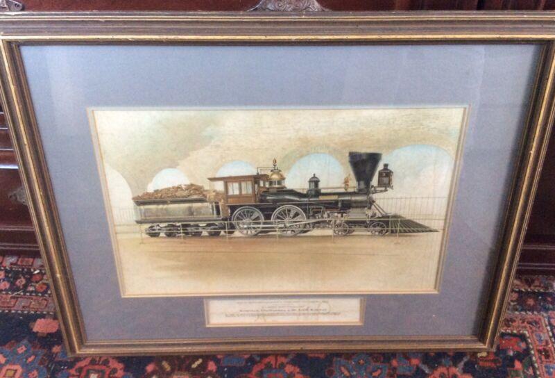 Antique Vintage Color print lithograph The General locomotive Nashville Railway