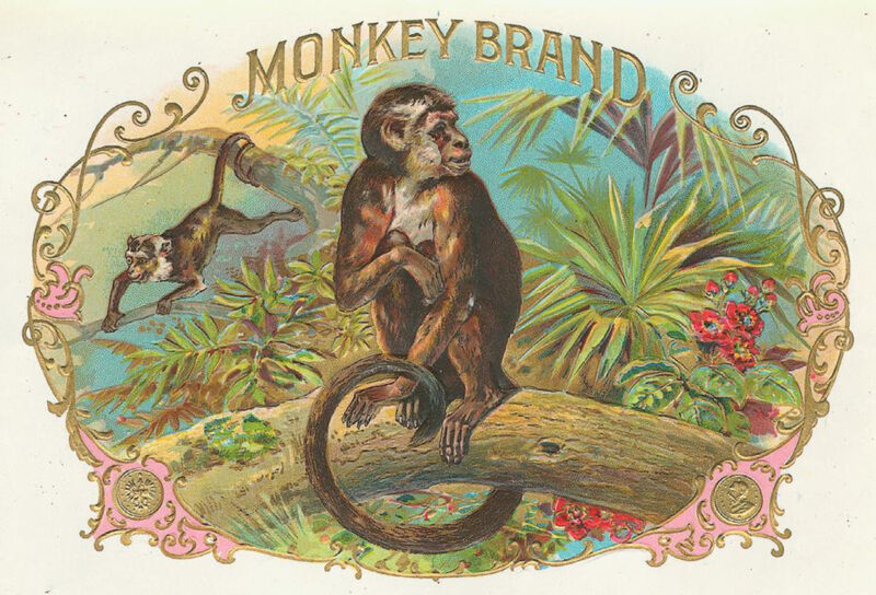 Awesome MONKEY BRAND Antique Cigar Box Label T Shirt SMALL-XXXLARGE (F)