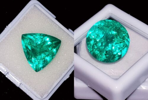 Loose Gemstones Natural Emeralds Certified 8 to 10 Cts 2 Pieces RK56