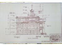 Walt Disney World Haunted Mansion South Elevation Blueline Blueprint 0068