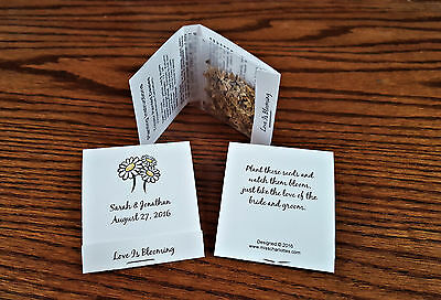 50 Personalized Wedding Daisy Wildflower Seed Packet Favors Matchbook (Wedding Favors Wildflower Seeds)